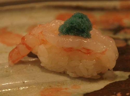 松江市内『大鯛寿司』の十二かん、その九 赤海老/ホッコクアカエビ