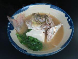 タテシマフエフキのみそ汁(魚汁)