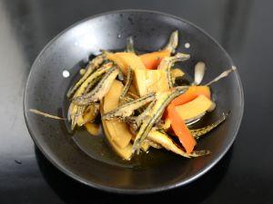 ヒガシシマドジョウと竹の子の煮もの