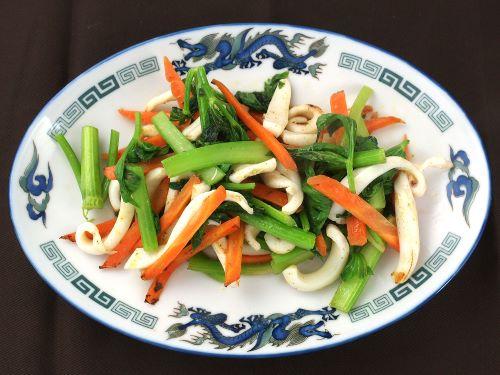 スルメイカと野菜炒め