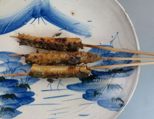 うなぎの筒切りの串焼き