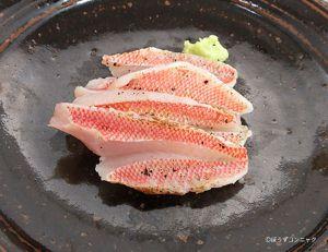 ヒメコダイの刺身(焼霜造り)