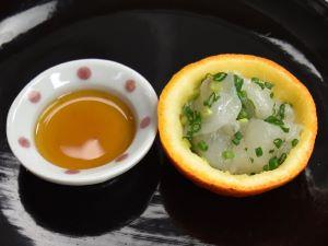 マフグの厚切り橙酢和え