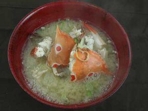 ジャノメガザミの味噌汁